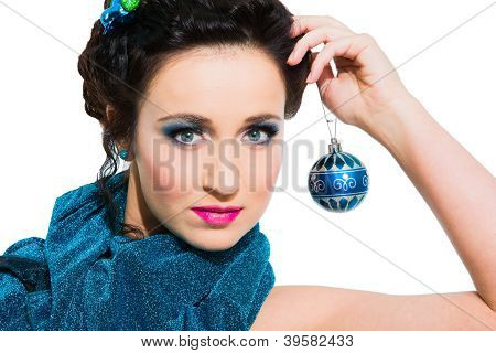 Beautiful Girl With New Year's Accessoties