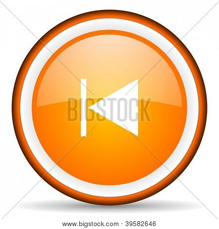 prev orange glossy circle icon on white background