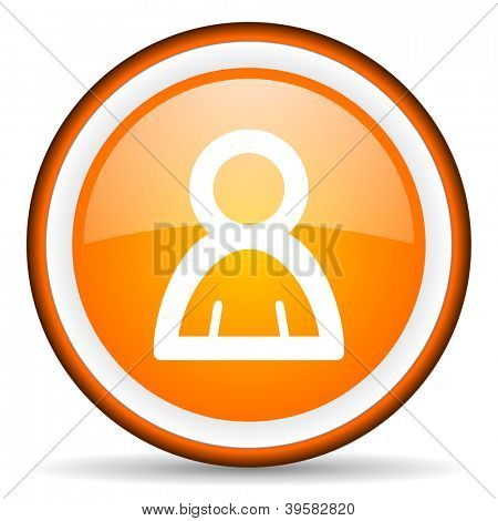 contact orange glossy circle icon on white background