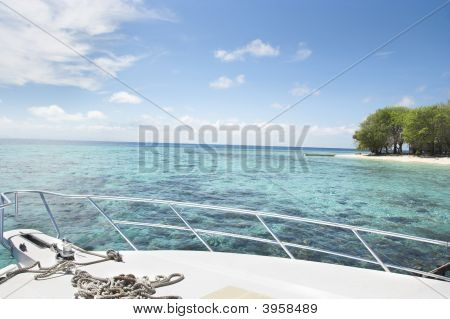 Yacht And Tropical Island