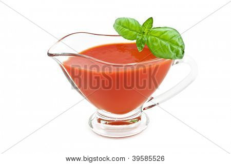 tomato sauce with basil leaf isolated
