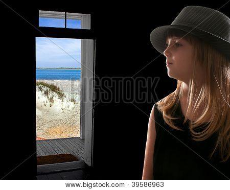 Girl In Beach House Doorway