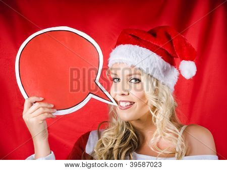 Santa Girl Holding Blank Bubble Board
