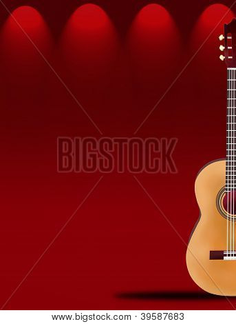 A Beautiful Classical Guitar On Red Elegant Theater Stage