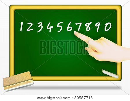 Pointing Finger At Number On A Blackboard