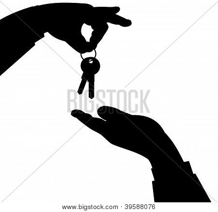 Hand and Keys Silhouette