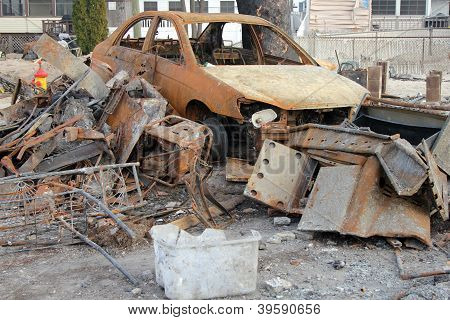 Burned car in the aftermath of Hurricane Sandy
