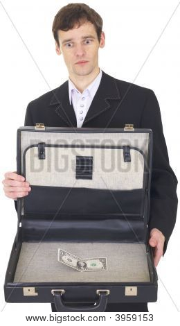 Man With Suitcase Containing One Dollar