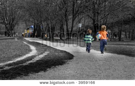 Kids Running To Playground