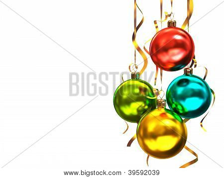 Multicolored Christmas Balls Isolated On White Background