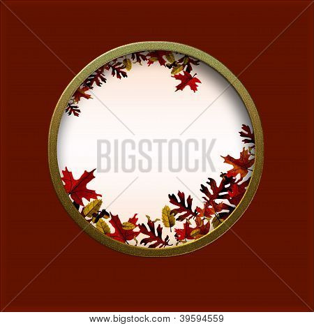 Autumn Card With Round Illustrated Window