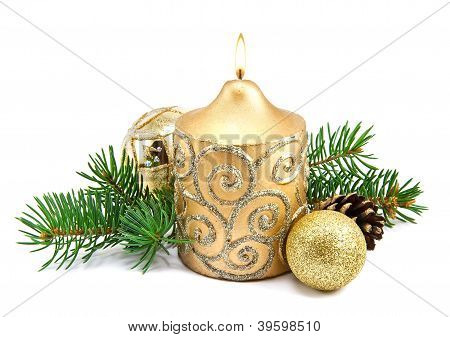 Christmas Decoration With Candles And Fir Tree
