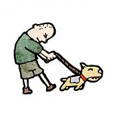image of skinhead  - cartoon skinhead walking dog - JPG