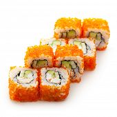stock photo of masago  - California Maki Sushi with Masago   - JPG