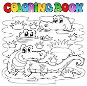 stock photo of crocodilian  - Coloring book crocodile image 1  - JPG