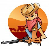 stock photo of cowgirl  - Portrait od Cowgirl - JPG