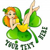 foto of triskele  - Sexy leprechaun girl in little hat on big green clover leaf - JPG