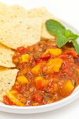 pic of chipotle  - Delicious Peach Mango Salsa with chipotle Chips - JPG