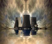 foto of nuclear disaster  - Nuclear power plant on the coast - JPG