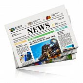 stock photo of mass media  - Heap of newspapers with business news isolated on white background with reflection effect