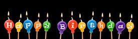 image of happy birthday  - Happy Birthday candles balloon shape isolated on back background - JPG