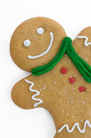 pic of gingerbread man  - Smiling gingerbread man with scarf and buttons - JPG