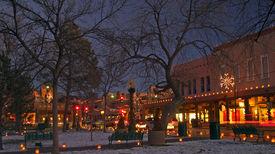 stock photo of luminaria  - The Plaza in Santa Fe with christmas lights - JPG