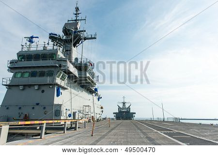 Large Battle Ship In Naval Base