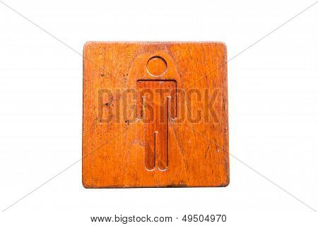 Brown Hard Wood Polished Toilet Sign