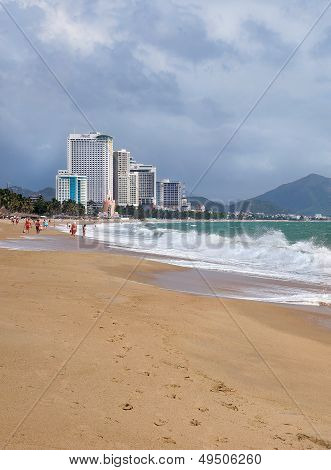 View Of The City Beach And Hotels In Nha Trang Vietnam, March