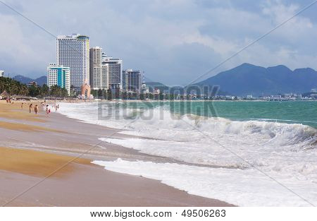 Nha Trang, Vietnam - March: View Of The City Beach And Hotels In Nha Trang Vietnam, March 2013.