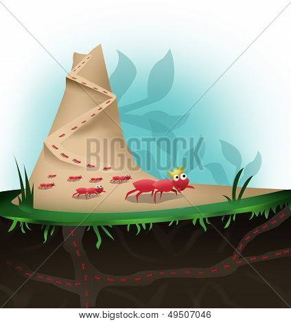 Ants Marching in Hill Colony illustration