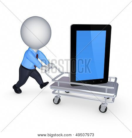 Tablet PC on a pushcart.