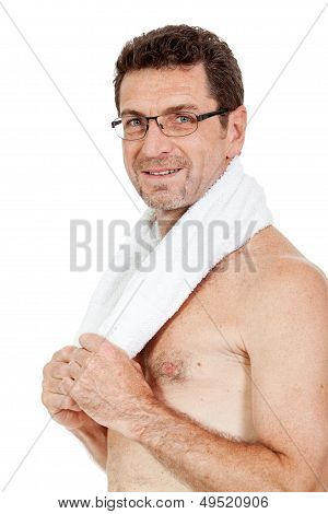 Smiling Mature Sporty Man With Towel Fittness Sport Health Isolated