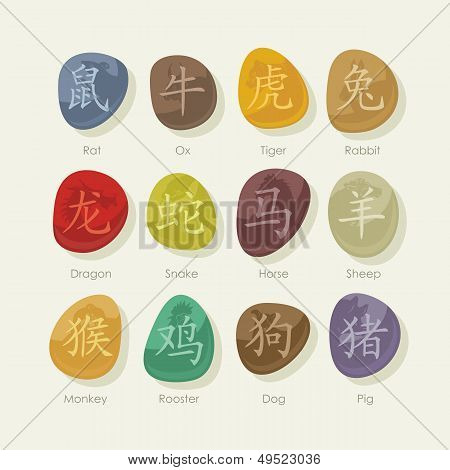 Stones Set With Chinese Zodiac Signs