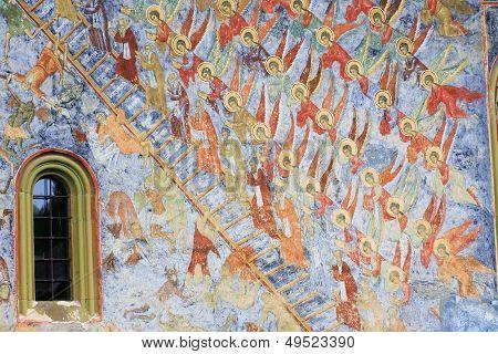 Exterior paintings wall at Sucevita Monastery, Bucovina, Romania.