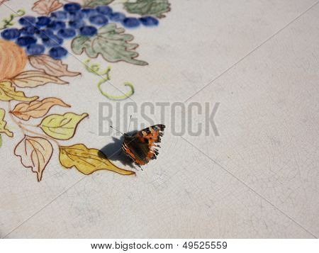 Butterfly on ceramics