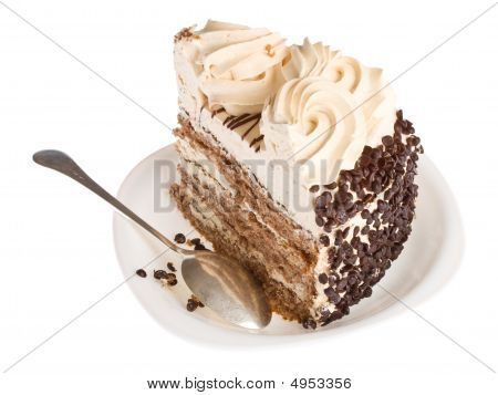 Piece Of Cake On White Plate With Spoon