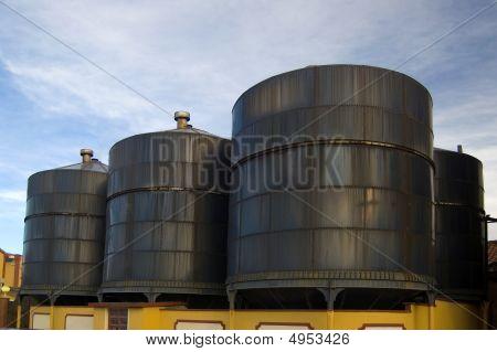 Wine Tanks In Warehouse