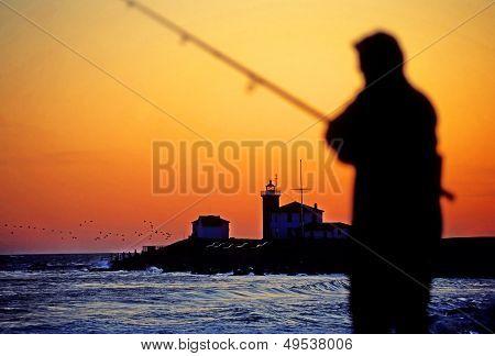Sunset Fishing Silhouette