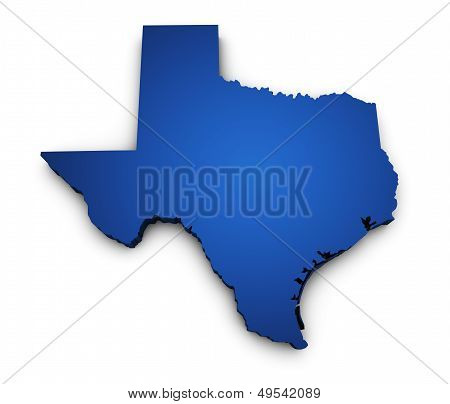 Mapa do estado do Texas forma 3D