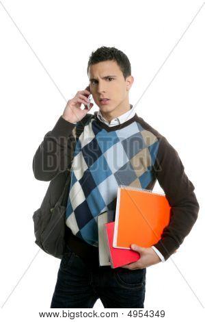 Estudiante con el bolso, teléfono y libros curso escolar