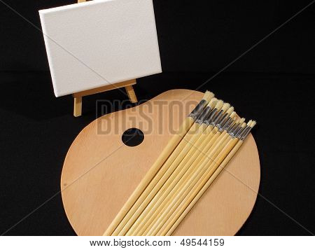 Easel Brushes & Pallette