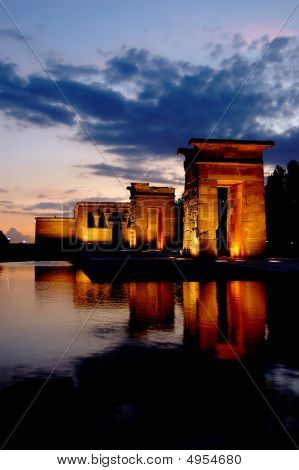 Temple Of Debod In Madrid At Night