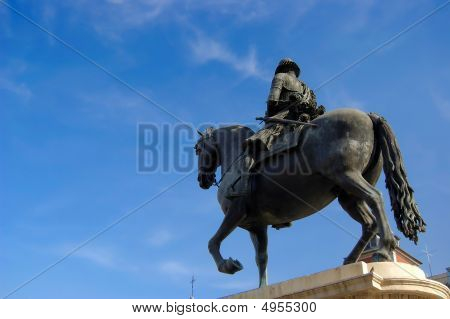 Felipe Iii Statue In Major Square, Madrid. Spain