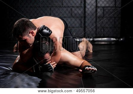 Weak MMA fighter about to tap out