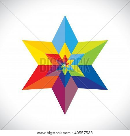 Abstract Colorful Star Shape With Six Sides- Vector Graphic
