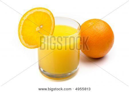 Glass Of Orange Juice With Orange