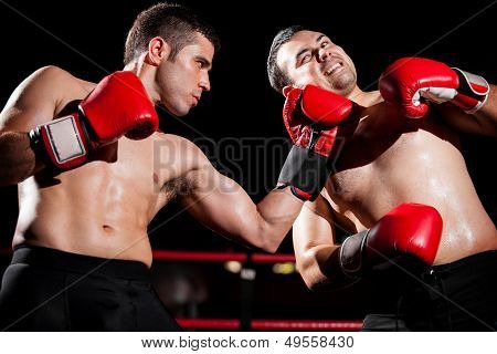 Throwing an uppercut during a fight
