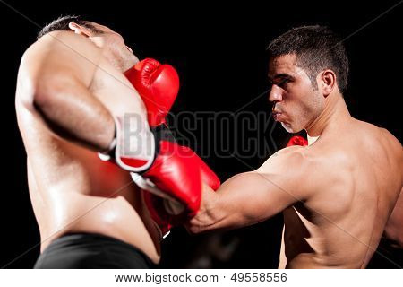 Boxing uppercut during a fight